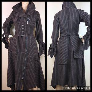 Jackets & Blazers - Steampunk Vintage Corset Wool Pin-Striped Coat